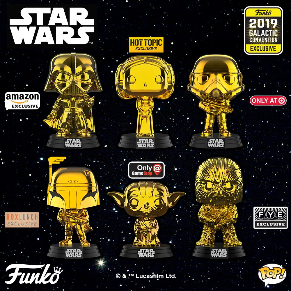 Star Wars Chewbacca FUNKO Pop Gold Chrome Galactic Convention Exclusive # 63