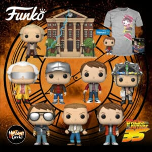 Funko Pop! Movies: Back to the Future Wave 2020: Marty 1955, Marty in Puffy Vest, Marty in Future Outfit, Biff Tannen, Doc 2015, Marty With Glasses, Doc With Helmet, Doc With Clock Tower and Marty Mcfly Pop & Tee Funko Pop! Vinyl Figures