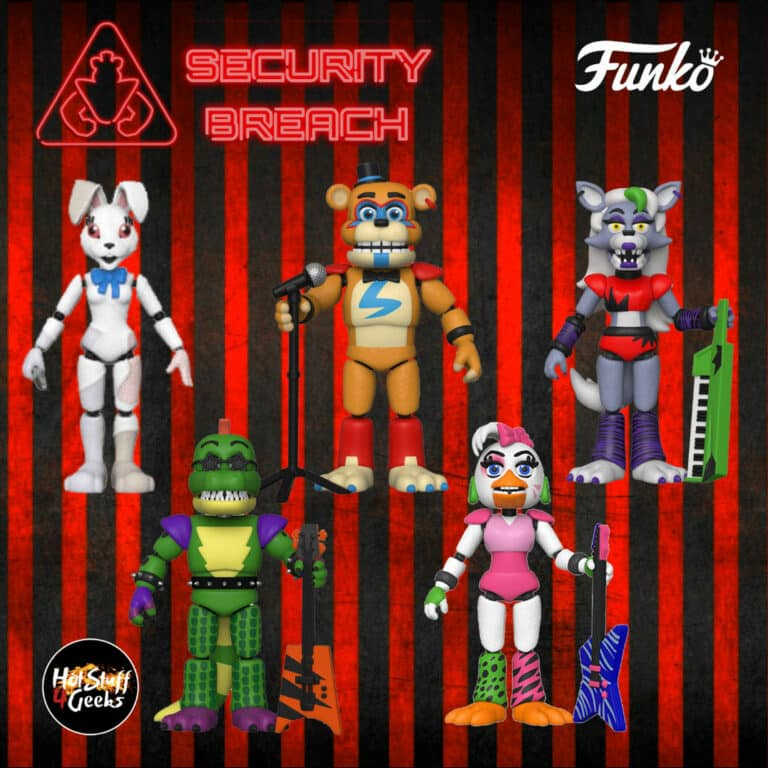 Five Nights at Freddy's Security Breach Funko Action Figures: glamrock Freddy, glamrock Vanny, glamrock Roxanne Wolf, glamrock Montgomery Gator, and glamrock Chica