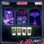 Funko Marvel Black Light Series backpacks and cups