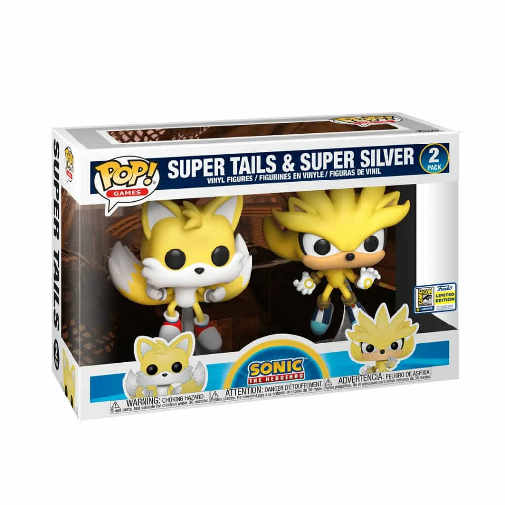 Funko Pop! Games: Sonic the Hedgehog 2-Pack - Super Tails and Super Silver Funko Pop! Vinyl Figures - SDCC 2020 and GameStop Shared Exclusives (Box)