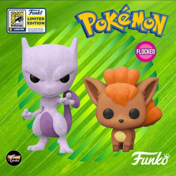 Funko Pop! Games: Pokémon: Mewtwo (Flocked) and Vulpix (Flocked) Funko Pop! Vinyl Figures - SDCC 2020. GameStop and FunkoShop Shared Exclusives