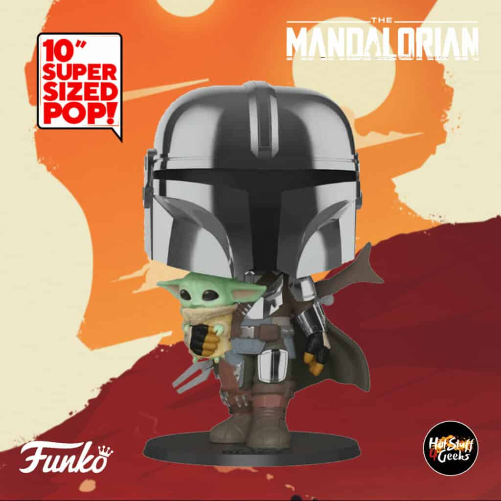 Pop Star Wars 10 inches Chrome Mandalorian With the Child Funko Pop Figure