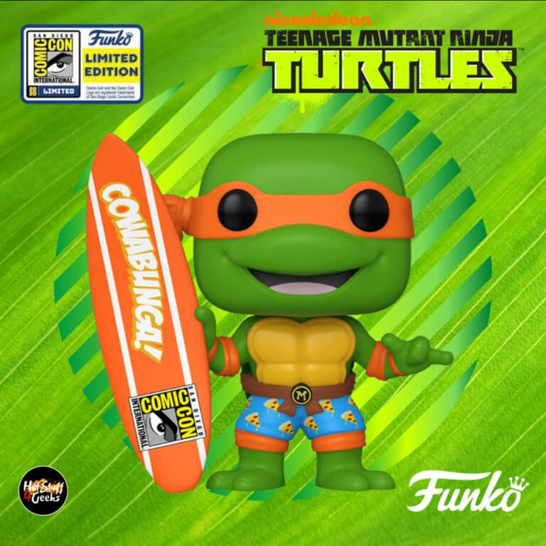 Pop! Television:  Teenage Mutant Ninja Turtles (TMNT) - Michelangelo With Surfboard Funko POP! Vinyl Figure - SDCC Exclusive