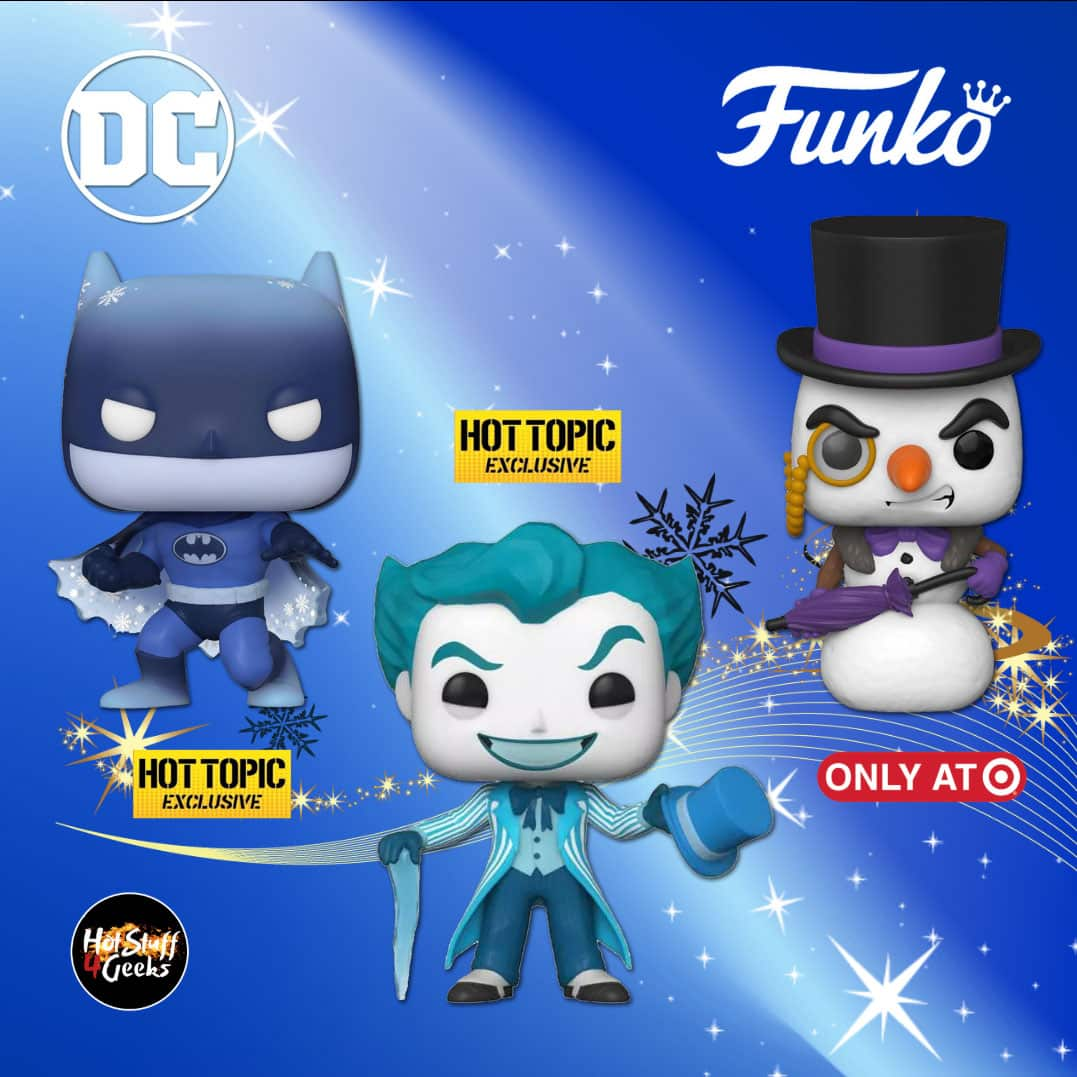 Funko POP! Heroes: DC Holiday - The Penguin Snowman, Batman Silent Knight and Jack Frost Joker Funko Pop! Vinyl Figures Exclusives - Christmas Holiday 2020