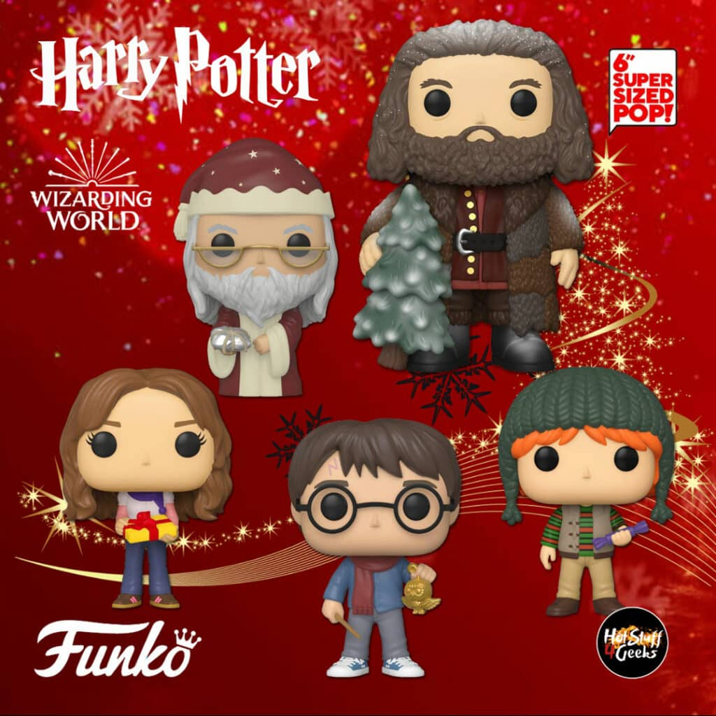 Funko Pop! Harry Potter – Harry Potter, Hermione Granger, Ron Weasley, Albus Dumbledore, and Rubeus Hagrid 6-inch Funko Pop! Vinyl Figures – Harry Potter Christmas Holiday pops 2020