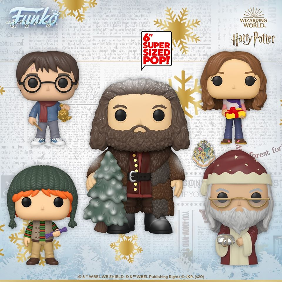 Funko Pop! Harry Potter – Harry Potter, Hermione Granger, Ron Weasley, Albus Dumbledore, and Rubeus Hagrid 6-inch Funko Pop! Vinyl Figures – Harry Potter Christmas Holiday pops