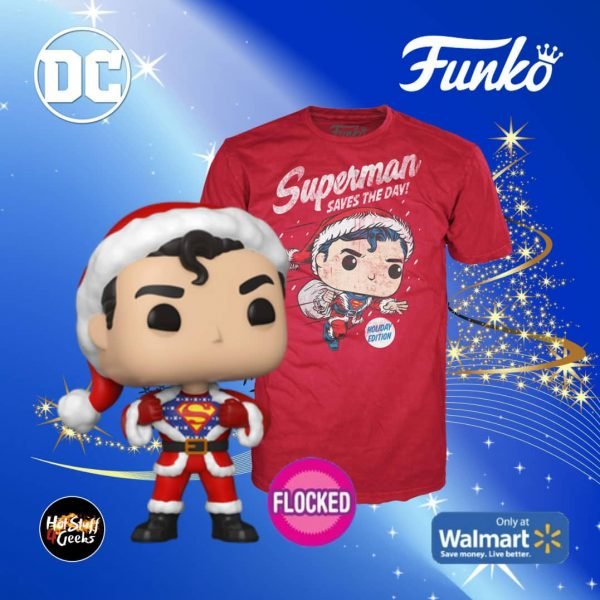 Funko POP! & Tee: DC Holiday - Superman (Flocked) Funko Pop! Vinyl Figure and Tee - Walmart Exclusive