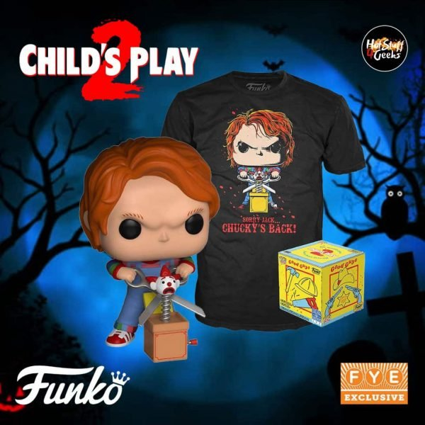 Funko Pop! Movies: Child's Play 2 Pop! And Tee – Chucky With Jack In The Box & Scissors Funko Pop! Vinyl Figure – Fye Exclusive