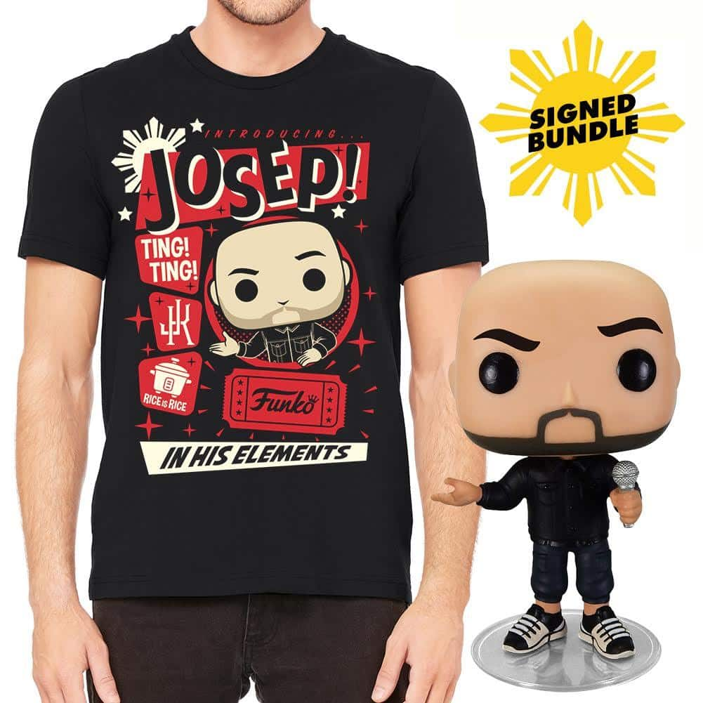 Funko Pop! Comedians Autographed Jo Koy Funko Pop! and Tee Bundle (T-Shirt And  Pop! Funko)
