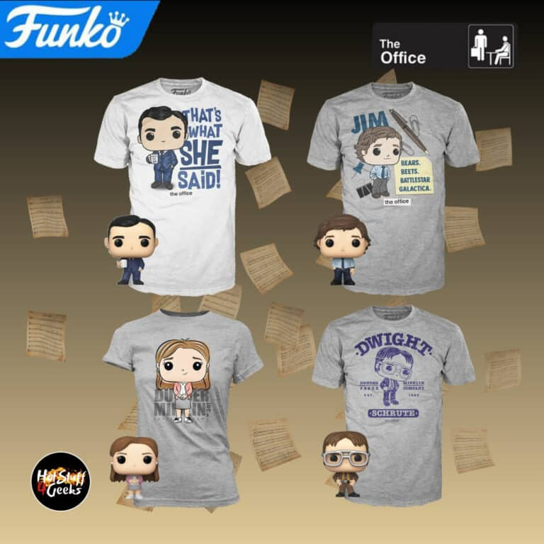 Funko Pop! Television: The Office Pocket Pop! and Tee (Adult Sizing): Jim, Pam, Michael, and Dwight