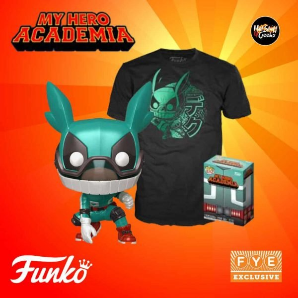 Funko Pop! Animation: My Hero Academia Pop! and Tee - Izuku Midoriya (Metallic) - Fye Exclusive