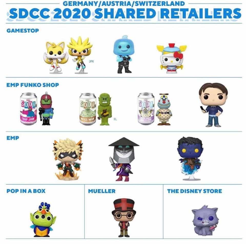 Germany, Austria, Switzerland- Funko SDCC 2020 Shared Exclusives