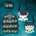 Loungefly Universal Monsters Chibi AOP Mini Backpack, Loungefly Universal Monsters Frankie and Bride Crossbody Bag and Loungefly Universal Monsters Chibi Characters Bi-fold Wallet