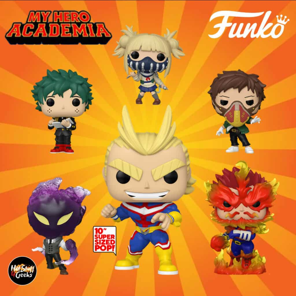 Pop! Animation: My Hero Academia Funko Pop 2020 Wave: Kai Chisaki Overhaul, Kurogiri, All Might 10-Inch, Himiko Toga with Face Cover, Endeavor and Deku Middle School Uniform