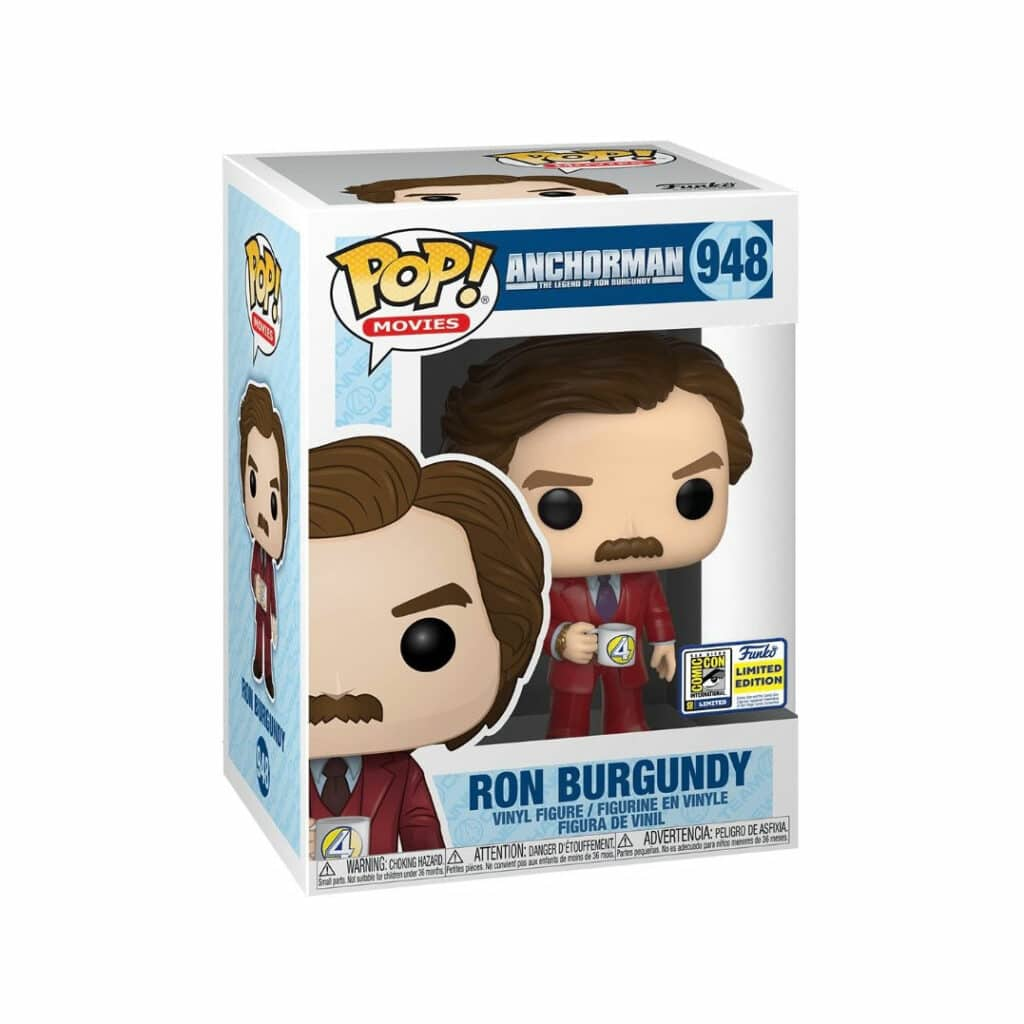 Funko Pop! Movies: Anchorman: The Legend Of Ron Burgandy - Ron Burgandy With Cup Funko Pop! Vinyl Figure - SDCC 2020 and Funko Shop Shared Exclusive (Box)