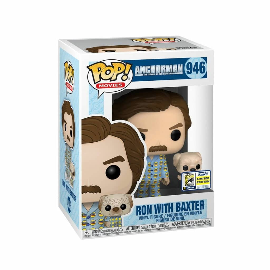 Funko Pop! Movies: Anchorman: The Legend Of Ron Burgandy - Ron With Baxter Funko Pop! Vinyl Figure - SDCC 2020 and Funko Shop Shared Exclusive (Box)