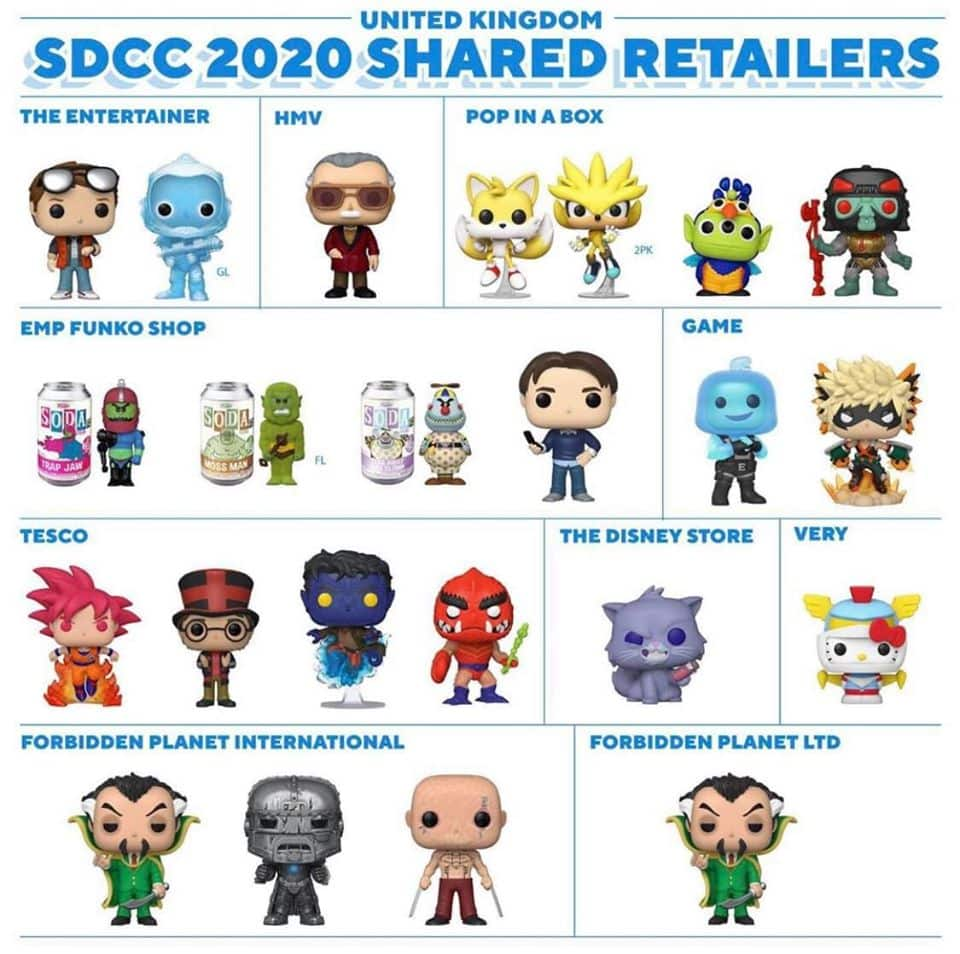 United Kigdom - Funko SDCC 2020 Shared Retailers