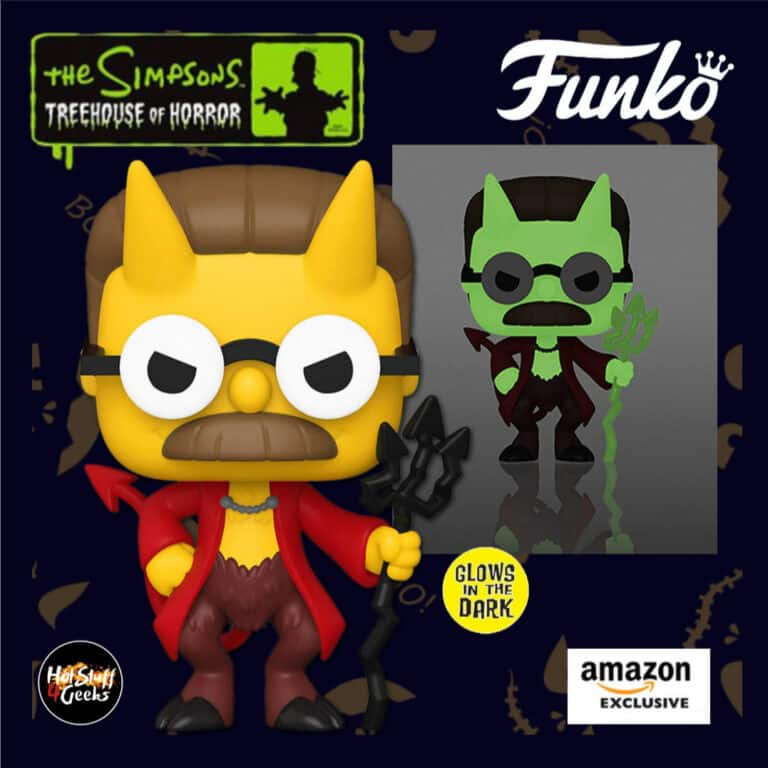 Funko Pop! Animation: The Simpsons Treehouse Of Horror (The Simpsons Halloween specials) - Devil Flanders Glow in The Dark (GITD) Funko Pop! Vinyl Figure -  Amazon Exclusive