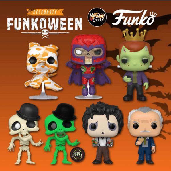Funko Pop! Celebrate Funkoween: Franken Freddy, Zombie Magneto (Marvel), Zero Art Series (The Nightmare Before Christmas), Skeleton (Corpse Bride), Edward Scissorhands with Kabobs, and The Inventor (Edward Scissorhands) Funko Pop! Vinyl Figures