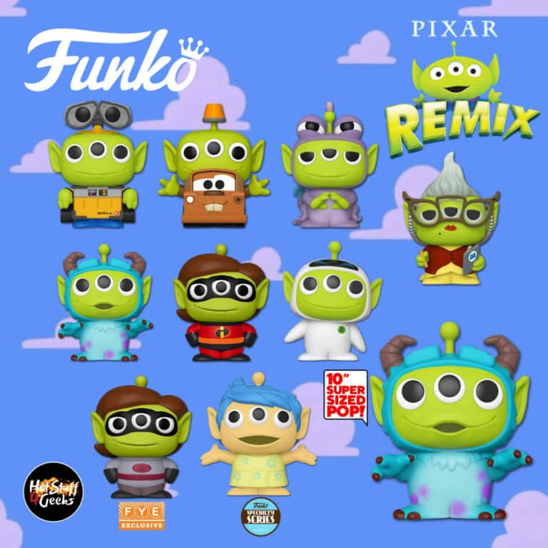 Funko Pop! Disney: Pixar Alien Remix - Alien as Elastigirl (Mrs. Incredible), Alien as Randall, Alien as Mater, Alien as Roz, Alien as Sulley, Alien as Wall-E, Alien as Eve, Alien as Sulley 10-Inch, Alien as Elastigirl (Mrs. Incredible) Fye Exclusive, Alien as Joy Specialty Series Exclusive and Tuck & Roll 2-Pack Target Exclusive Funko Pop! Vinyl Figures - Wave 2