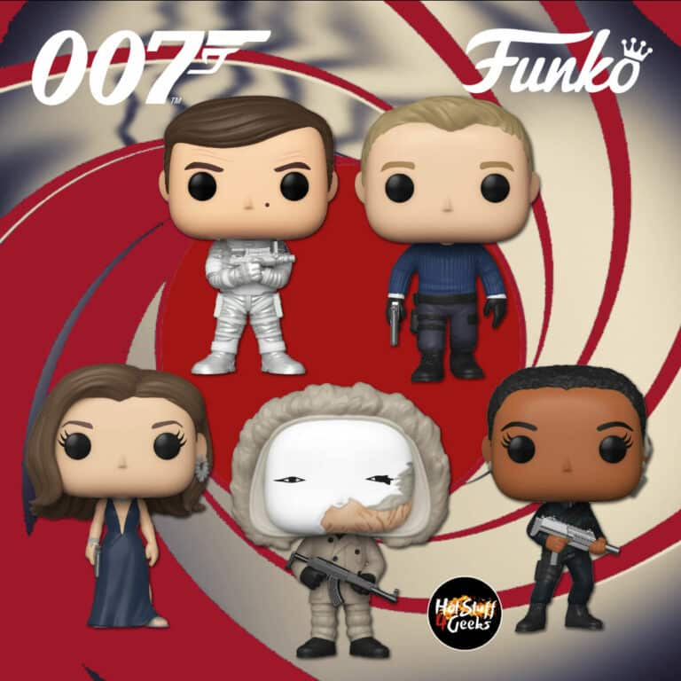 Funko Pop! Movies: 007 James Bond: Roger Moore (Moonraker), James Bond (No Time to Die), Nomi (No Time to Die), Safin (No Time to Die), and Ana (No Time to Die) Funko Pop! Vinyl Figures - Wave 2020