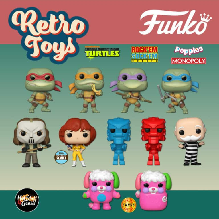 Funko Pop! Retro Toys: Teenage Mutant Ninja Turtles (TMNT) - Raphael, Michelangelo, Donatello, Leonardo, Casey Jones, April O'Neil (1990 Movie), Hasbro - Monopoly: Criminal Uncle Pennybags (Jail), Hasbro - Popple With Chase Variant, Mattel - Rockem Sockem: Robot Red and Mattel - Rockem Sockem: Robot Blue Funko Pop! Vinyl Figures - Retro Toys Wave 2