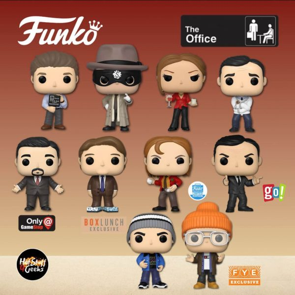 Funko Pop! Television: The Office - Dwight The Strangler, Jim Halpert With Nonsense Sign, Michael Straitjacket, Jan with Wine & Candle, The Scranton Boys 2-Pack - Fye Exclusive, Kevin Malone With Tissue Box Shoes - BoxLunch Exclusive, Threat Level Midnight – Michael Scarn -  Go! Exclusive, Dwight as Pam - Funko Shop Exclusive, and Michael Klump - GameStop Exclusive Funko Pop! Vinyl Figures - Wave 2020