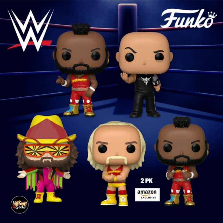 Funko Pop! WWE: NWSS - Macho Man Randy Savage, Mr. T and The Rock Dwayne Johnson, and Hulkamania Hulk Hogan and Mr. T 2-Pack (Amazon Exclusive) Funko Pop! Vinyl Figures - Wave 2020