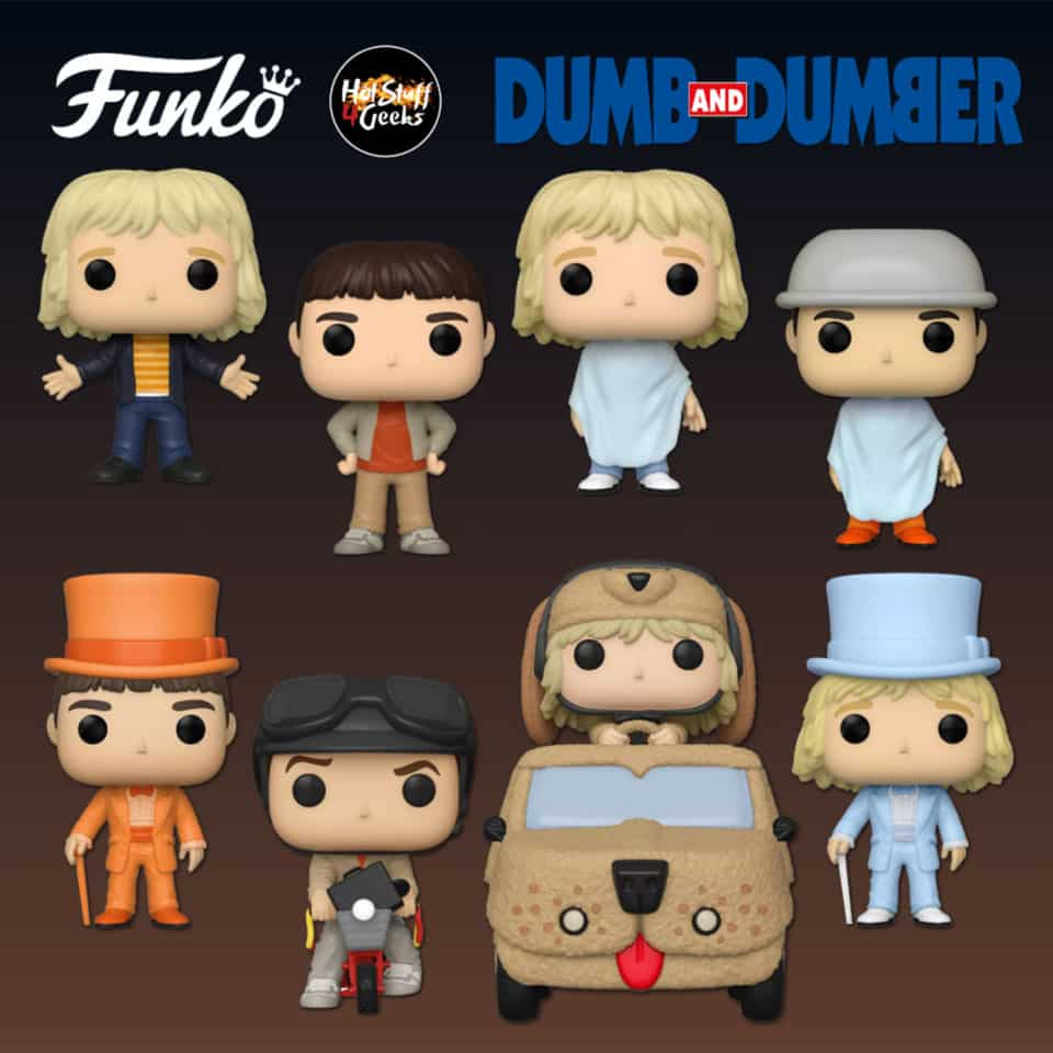 Funko POP! Movies: Dumb and Dumber - Harry Dunne In Mutt Cutts Van, Lloyd Christmas in Bicycle, Casual Harry Dunne, Casual Lloyd Christmas, Harry Dunne in Tux with chase Variant, Lloyd Christmas in Tux with chase Variant, Lloyd Christmas Getting Haircut and Harry Dunne Getting Haircut Funko Pop! Vinyl Figures