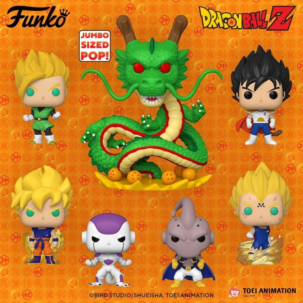 Funko Pop! Animation: Dragon Ball Z (DBZ) - Super Saiyan Gohan Glow-in-the-DarkFunko (Entertainment Earth Exclusive), Kid Buu Kamehameha With Glow-in-the-Dark ( Galactic Toys Exclusive), Ultra Size Shenron Metallic Glow-in-the-Dark (Funimation Exclusive), and Super Saiyan Goku Glow-in-the-Dark (Go! Calendars Exclusive) Pop! Vinyl Figures - Wave 2020