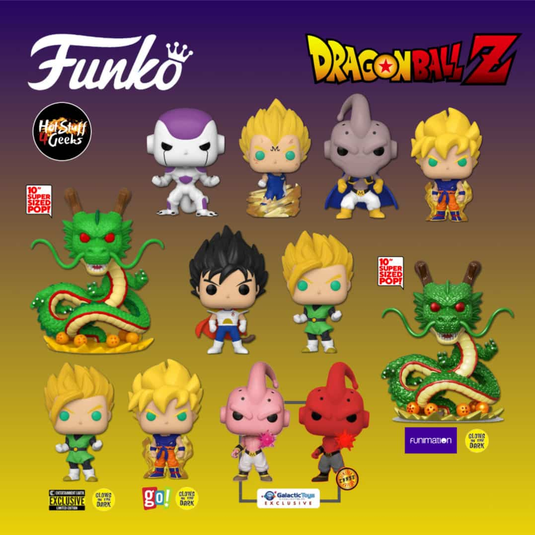 Funko Pop! Animation: Dragon Ball Z (DBZ) - Super Saiyan Gohan, Frieza (First Form), Shenron Dragon 10-Inch, Child Vegeta, Super Saiyan Goku (First Appearance), Majin Vegeta, Super Saiyan Gohan Glow-in-the-DarkFunko (Entertainment Earth Exclusive), Kid Buu Kamehameha With Glow-in-the-Dark ( Galactic Toys Exclusive), Ultra Size Shenron Metallic Glow-in-the-Dark (Funimation Exclusive), and Super Saiyan Goku Glow-in-the-Dark (Go! Calendars Exclusive) Pop! Vinyl Figures - Wave 2020