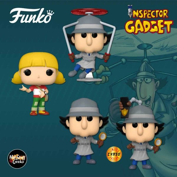 Funko Pop! Animation: Inspector Gadget - Penny Funko, Inspector Gadget Flying, and Inspector Gadget With Chase Variant Funko Pop! Vinyl Figures