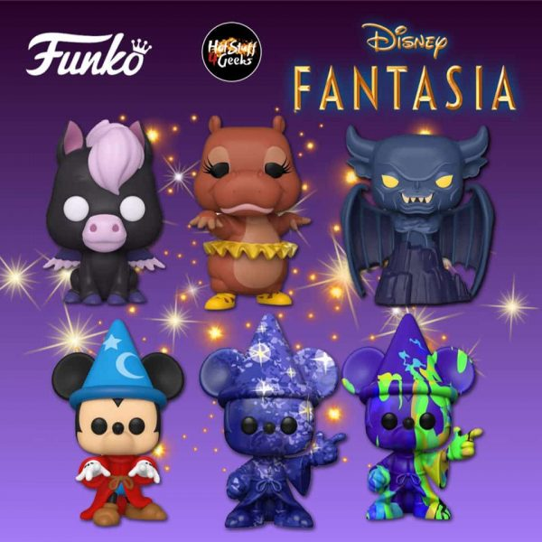 Funko Pop! Disney Fantasia 80th Anniversary: Hyacinth Hippo, Peter Pegasus, Sorcerer Mickey, Chernabog, Mickey (Purple - Art Series), and Mickey (Purple-Green - Art Series) Funko Pop! Vinyl Figures 2020