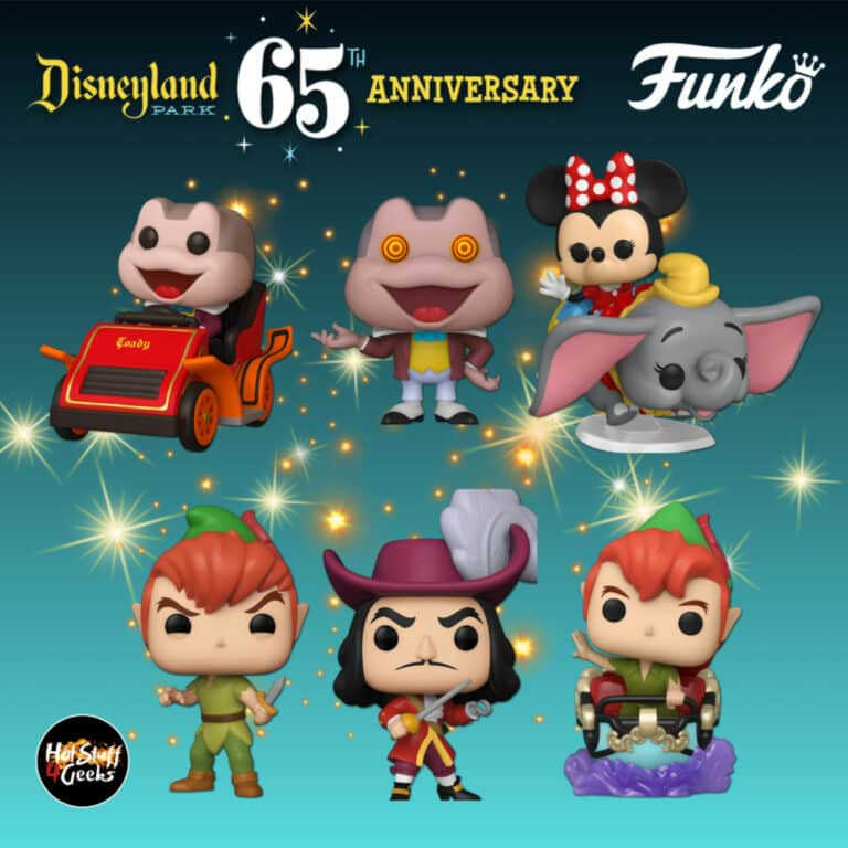 Funko Pop! Disney: Disneyland 65th – Mr. Toad with Spinning Eyes, Peter Pan, Captain Hook, Peter Pan at Peter Pan's Flight Attraction, Mr. Toad at the Mr. Toad's Wild Ride Attraction, and Minnie Mouse on Dumbo the Flying Elephant Attraction Funko Pop! Vinyl Figures - Wave 2