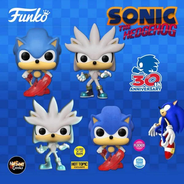 Funko Pop! Games: Sonic The Hedgehog - Sonic 30th Anniversary: Classic Sonic, Silver the Hedgehog, Flocked Classic Sonic (Funko Shop Exclusive), Classic Sonic Glow In The Dark (Hot Topic Exclusive) Funko Pop! Vinyl Figures