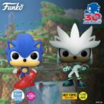 Funko Pop! Games: Sonic The Hedgehog - Sonic 30th Anniversary: Flocked Classic Sonic (Funko Shop Exclusive), Classic Sonic Glow In The Dark (Hot Topic Exclusive) Funko Pop! Vinyl Figures