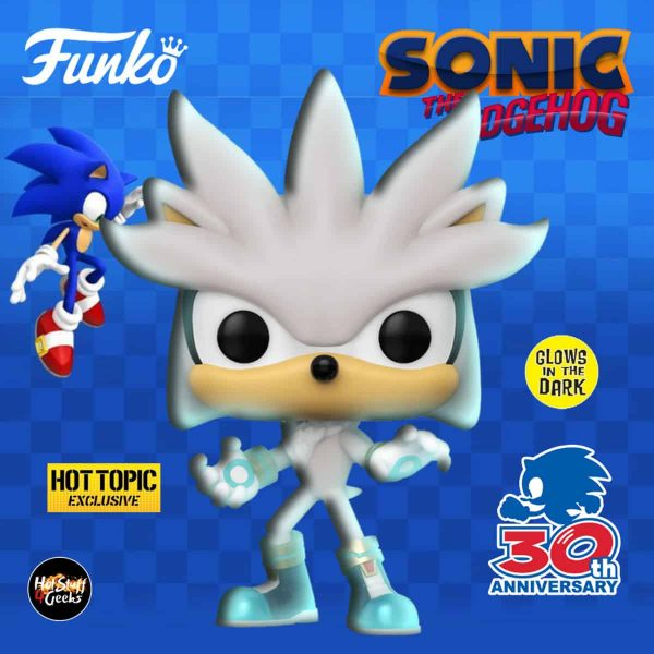Funko Pop! Games: Sonic The Hedgehog - Sonic 30th Anniversary: Silver the Hedgehog Glow In The Dark (GITD) Funko Pop! Vinyl Figure - Hot Topic Exclusive