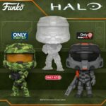 Funko Pop! Halo: Master Chief in Active Camo (Target), Spartan Mark VII With Shock Rifle (GameStop), and Infinite-Master Chief With MA40 Assault Rifle in Hydro Deco (BestBuy) Funko Pop! Vinyl Figure Exclusives
