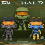 Funko Pop! Halo: Spartan Mark VII With VK78 Commando Rifle Yellow/Blue (In-Game Content), Spartan Mark VII With VK78 Commando Rifle, and Master Chief With MA40 Assault Rifle Funko Pop! Vinyl Figures