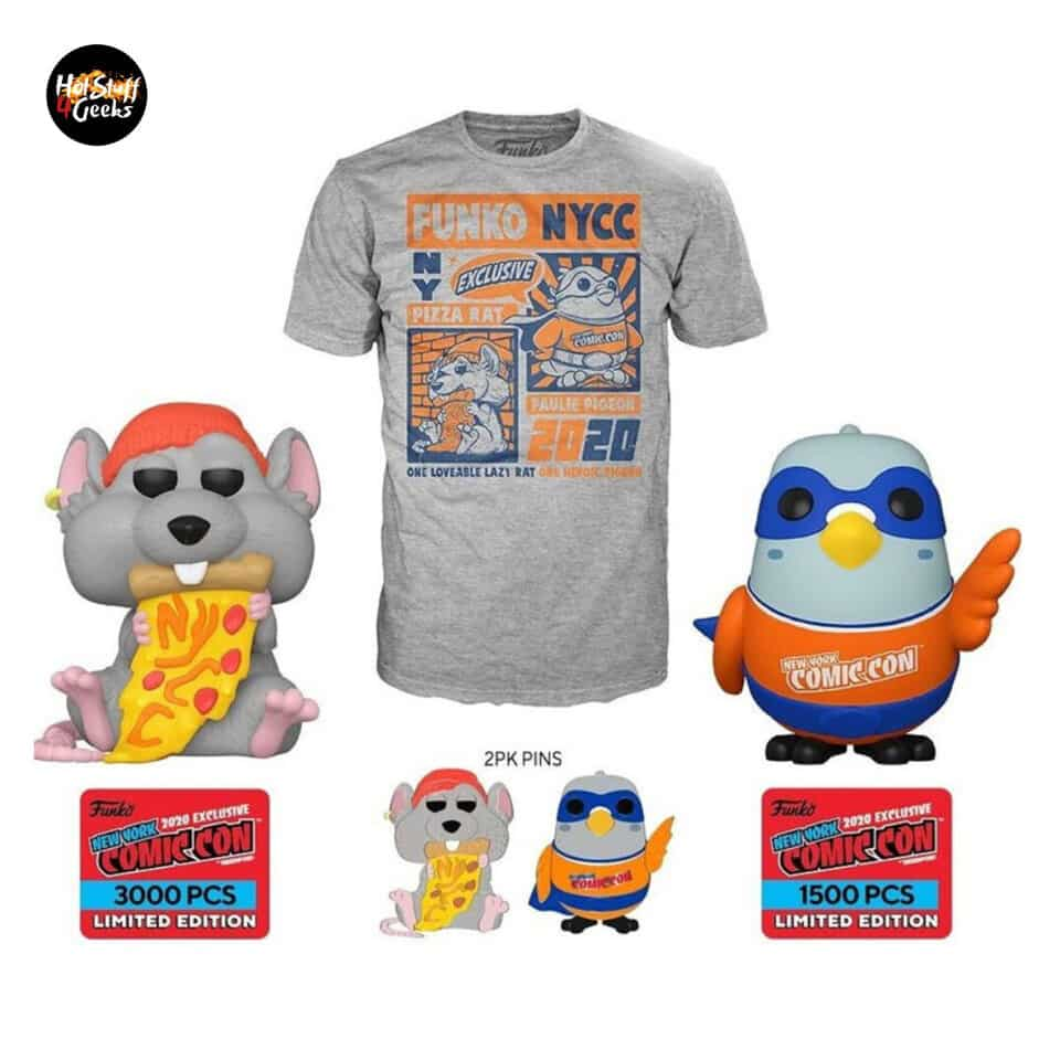 Funko Pop! Icons New York Comic Con - Pizza Rat with Orange Hat and Paulie Pigeon Orange and Blue Funko Pop! Vinyl Figures - Reedpop Exclusive