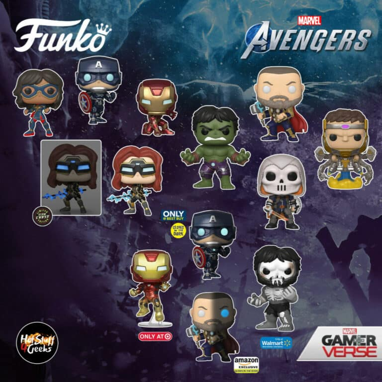 Funko Pop! Marvel Avengers 2020 Game: Modok, Thor in Stark Tech Suit, Thor in Stark Tech Suit GITD (Amazon Exclusive), Iron Man in Stark Tech Suit, Hulk In Stark Tech Suit, Iron Man (Target Exclusive), Hulk Skeleton (Walmart Exclusive), Captain America GITD (), Taskmaster, Captain America in Stark Tech Suit, Kamala Khan, and Black Widow In Stark Tech Suit GITD With Chase Gamerverse Funko Pop! Vinyl Figures