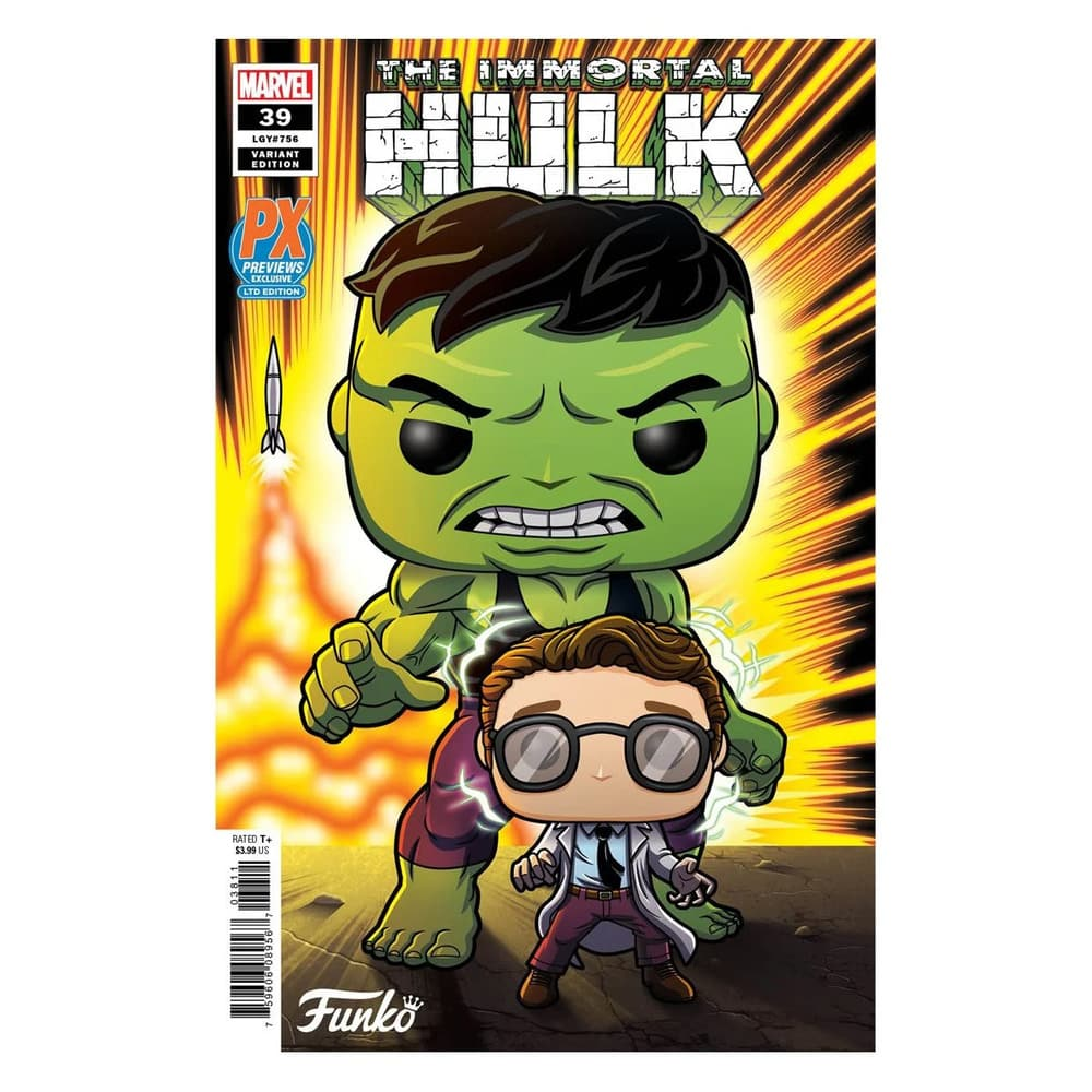 Funko Pop! Marvel Heroes: Professor Hulk With Bunny Slippers 6-Inch With Glow-In-The-Dark (GITD) Chase Variant Funko Pop! Vinyl Figure and The Immortal Hulk #39 Variant Comic – PX Previews Exclusive