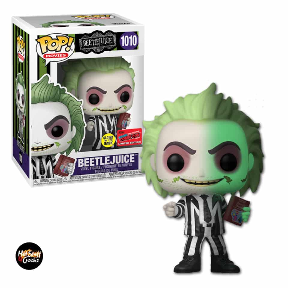 Funko Pop! Movies: Beetlejuice - Beetlejuice with Handbook of Recently Deceased Glow-In-The Dark (GITD)- NYCC 2020 Exclusive