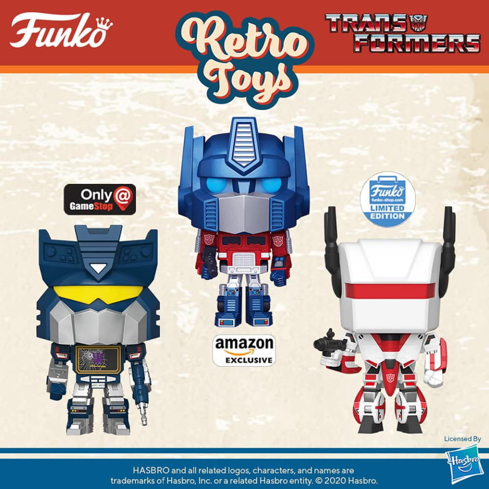 Funko Pop! Retro Toys: Transformers - Siege Soundwave (GameStop Exclusive), Metallic Optimus Prime (Amazon Exclusive), Jetfire (Funko Shop Exclusive) Funko Pop! Vinyl Figures