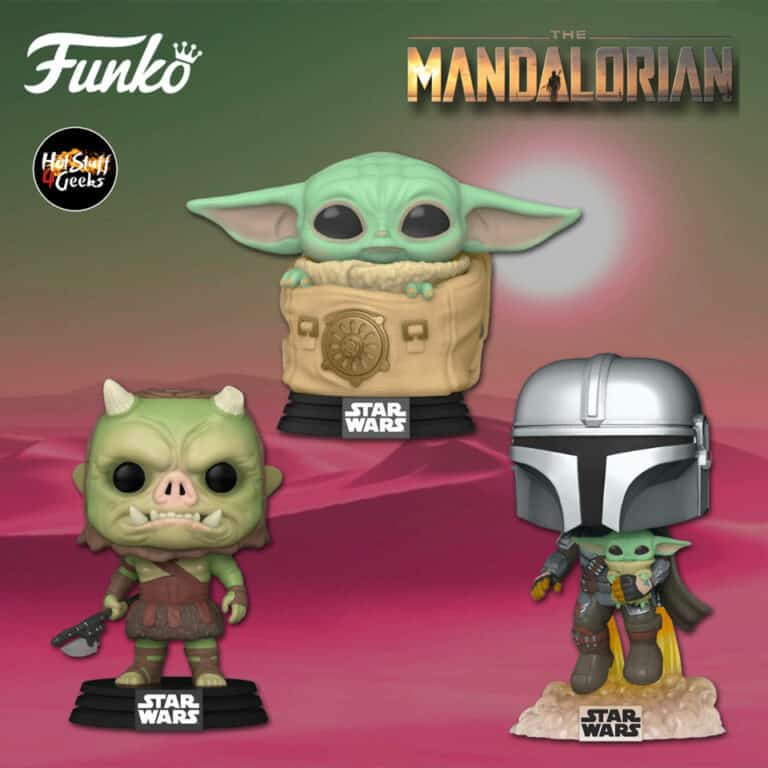 Funko Pop! Star Wars: The Mandalorian - Gamorrean Fighter, Child (Baby Yoda) with Bag, and The Mandalorian With Child (Baby Yoda)  Flying Funko Pop! Vinyl Figures Season 2 (2020)