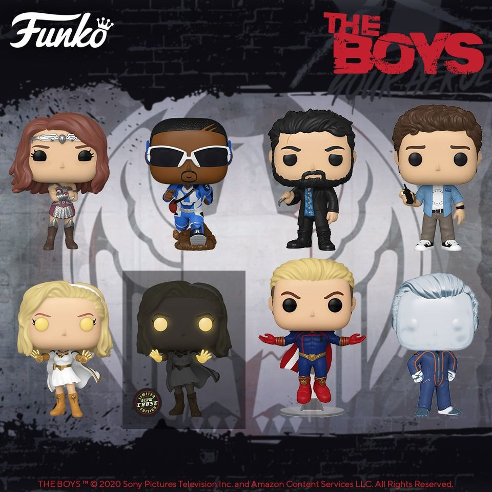Funko Pop! Television: The Boys - Hughie, Billy Butcher, Homelander, Queen Maeve, and Starlight With Glow-In-The-Dark Chase Variant Funko Pop! Vinyl Figures - Wave 2020