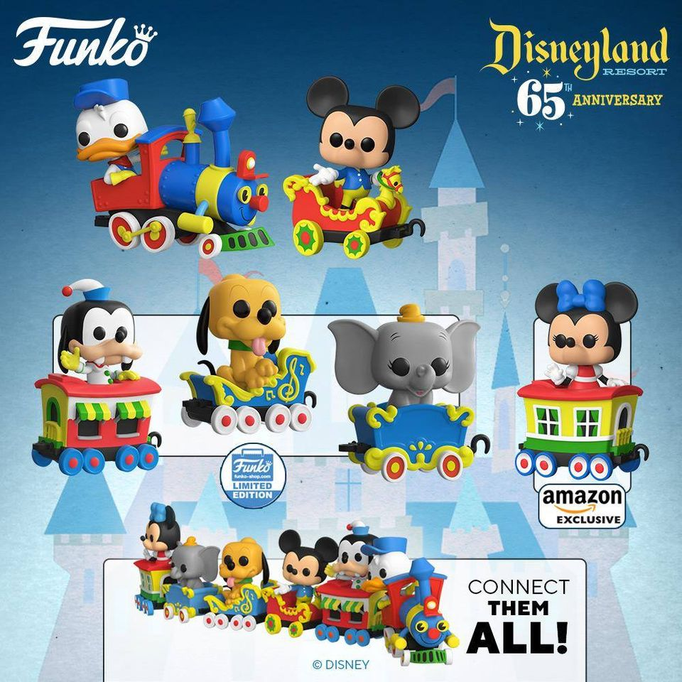 Funko Pop! Trains: Disneyland Resort 65th Anniversary - Donald Duck, Mickey Mouse, Minnie Mouse, Goofy, Dumbo, and Pluto On The Casey Jr. Circus Train Attraction Funko Pop! Vinyl Figures