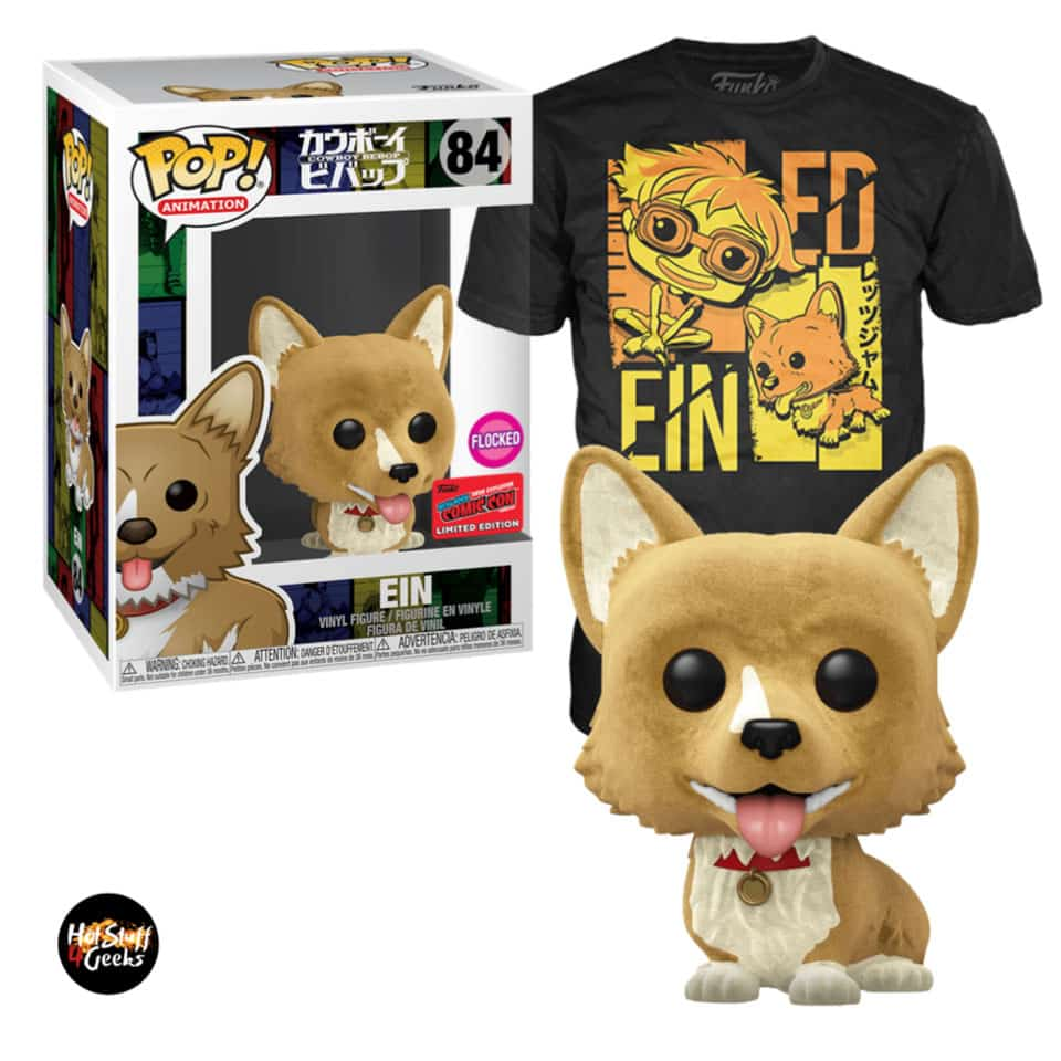 Funko Pop! and Tee: Cowboy Bebop - Ein (Flocked) Funko Pop! Vinyl Figure and Tee Bundle - NYCC 2020 Exclusive