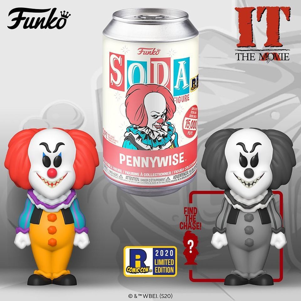Funko Vinyl Soda: It – Pennywise With Black and White Chase Variant Vinyl Soda Figure - 2020 Rhode Island Comic Con Exclusive